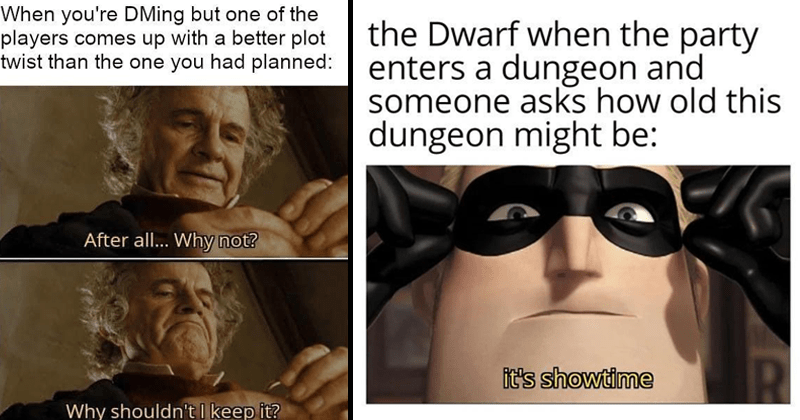 Funny memes about D&D, dungeons and dragons, nerdy memes