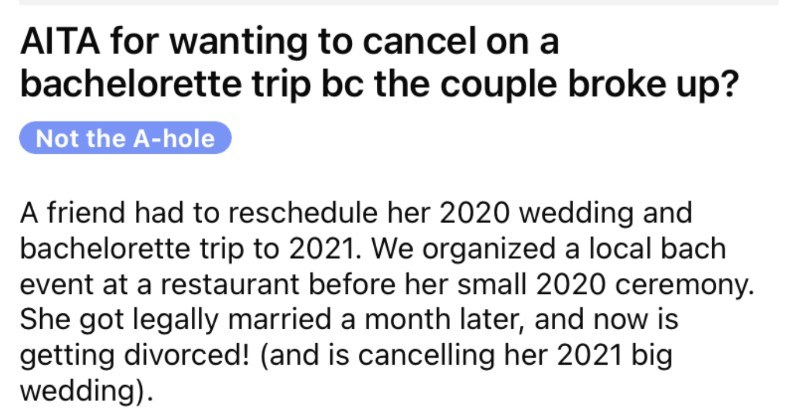 Bridesmaid wants to bail on the wedding after the couple breaks up.