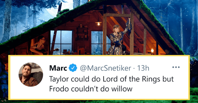 Best Memes and Tweets From The 2021 Grammys| thumbnail text - - Marc @MarcSnetiker · 13h Taylor could do Lord of the Rings but Frodo couldn't do willow
