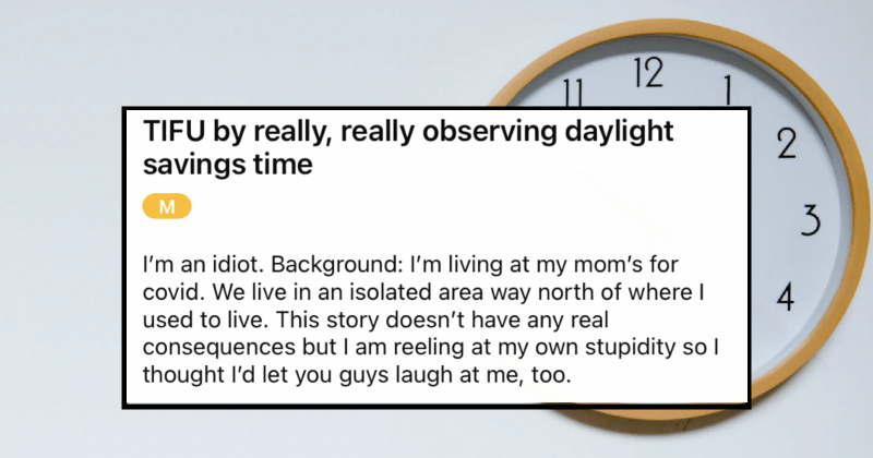 A hilarious and relatable Daylight Savings Time blunder.