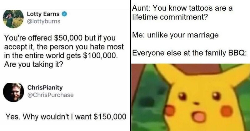 Funny random memes, relatable memes, Pikachu, hating oneself, funny tweets, twitter memes, depressing memes, self-deprecating memes