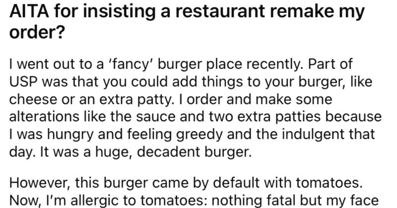 A restaurant fails to account for a customer's food allergy, so the customer doesn't pay for the burger.