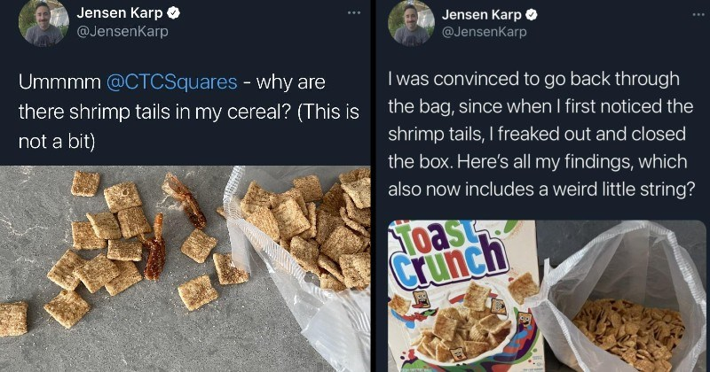 twitter thread, guy finds what look like shrimp tails in his cinnamon toast crunch cereal