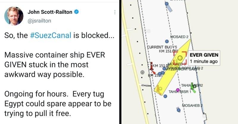 Big ship blocks Suez canal twitter thread.