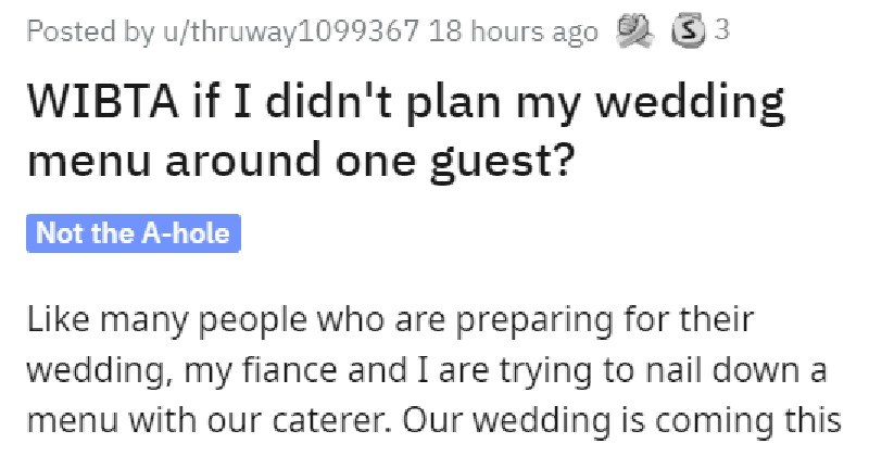 gluten free vegan wedding guest wants meal option catered to her