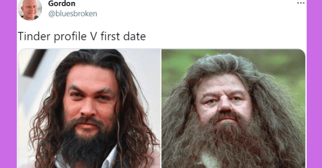 Funniest tweets about dating apps this week | thumbnail text - Gordon @bluesbroken Tinder profile V first date 6:47 PM · Mar 24, 2021 · Twitter for iPhone