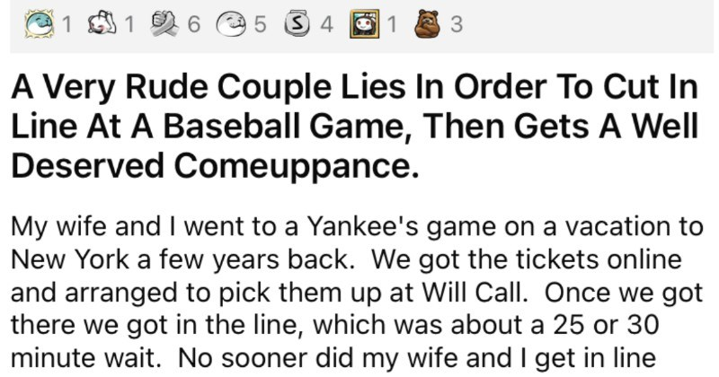 Couple tells a blatant lie to cut in line at a baseball game, and it hilariously backfires.