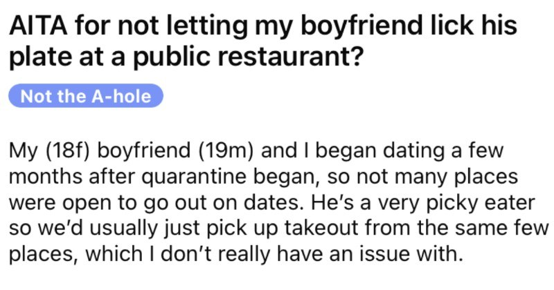 Man insists on licking his dinner plate clean, and his girlfriend gets upset.