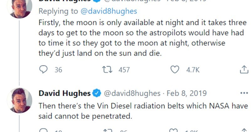 twitter thread about stupid moon landing filled with fake information