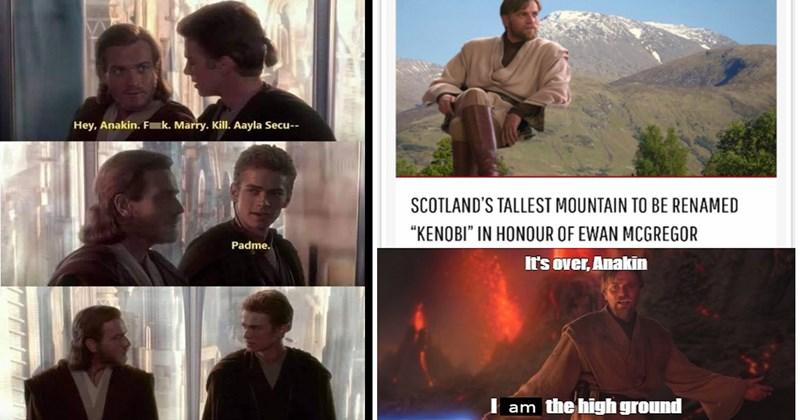 star wars memes, prequel memes, obi-wan kenobi, kenobi memes, ewan mcgregor, funny memes, nerdy memes, disney, fandom, star wars, memes, funny, anakin skywalker