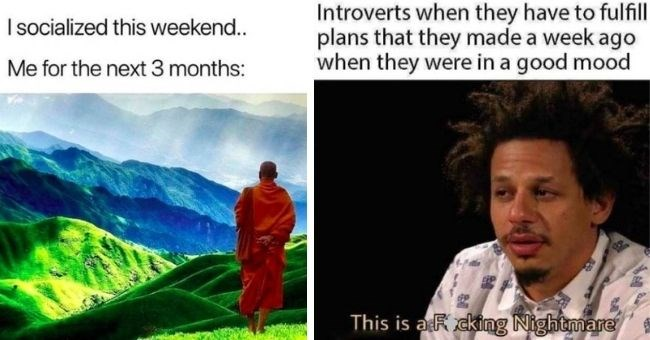 relatable memes for introverts who hate everyone but themselves | thumbnail text - I socialized this weekend.. Me for the next 3 months: Introverts when they have to fulfill plans that they made a week ago when they were in a good mood This is a Fucking Nightmare
