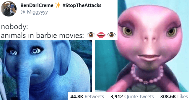 tweets of badly animated animals in movies thumbnail includes two pictures of scary animated animals from the movie Barbie and a tweet 'Photograph - BenDariCreme #StopTheAttacks @_Miggyyyy- ... nobody: animals in barbie movies: 2:41 PM Mar 29, 2021 - Twitter for Android 44.7K Retweets 3,912 Quote Tweets 308.6K Likes'