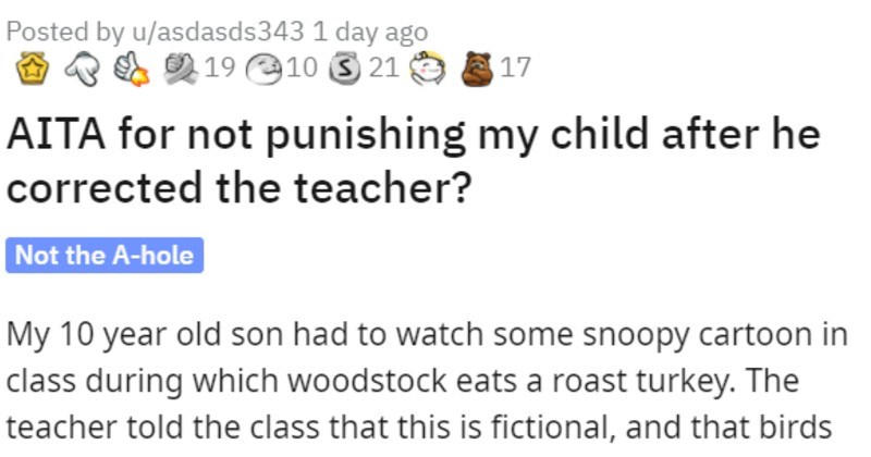 student corrects teacher about birds and tries to get kid punished for it
