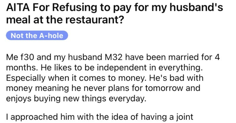 Woman refuses to pay for husband's meal at restaurant, he has a meltdown.