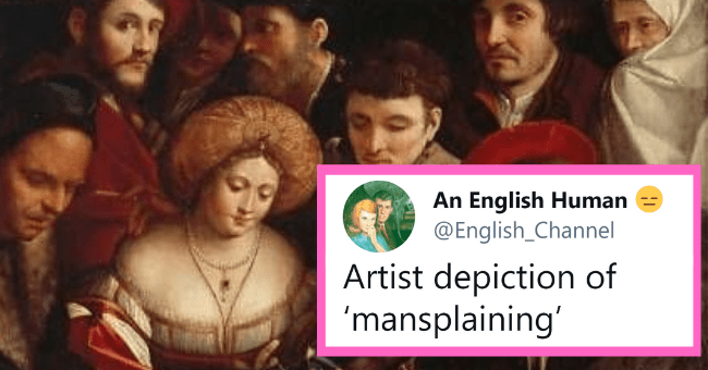 Weekly Dose Of Mansplaining Tweets (April 6, 2021)| thumbnail text - An English Human @English_Channel Artist depiction of 'mansplaining'