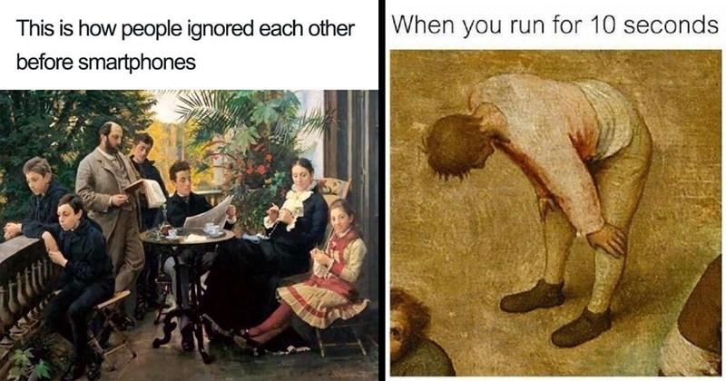 fine art, classical art memes, art memes, funny memes, dank memes, relatable memes, medieval memes, edward hopper, jesus memes, memes, painting