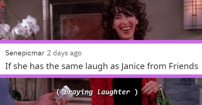 People's most shallow turnoffs and dealbreakers | thumbnail text - Senepicmar 2 days ago If she has the same laugh as Janice from Friends