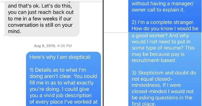 Person gives the facts to Multi-Level Marketing scammer, but they double down