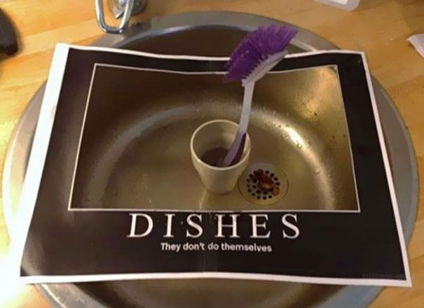 real life meme about doing dishes at work