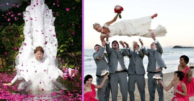 weird and awkward wedding photos which take cringe to a new level | thumbnail two panels showing weird weddings