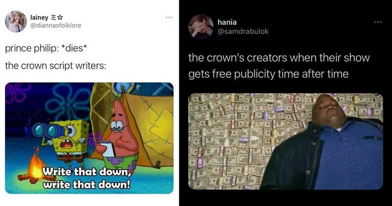 the crown, the crown memes, twitter memes, funny tweets, prince philip, duke of edinburgh, royal family, celebrities, twitter