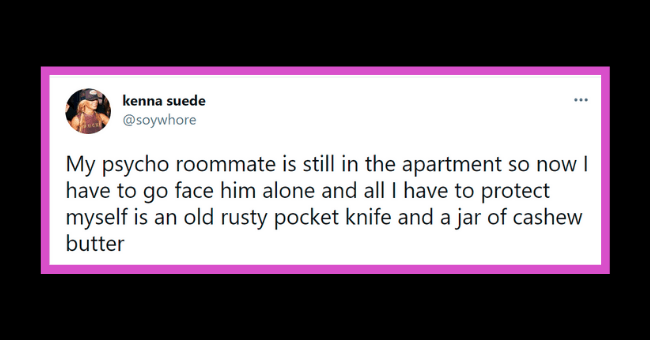 Funny tweets about psycho roommates | thumbnail text -
