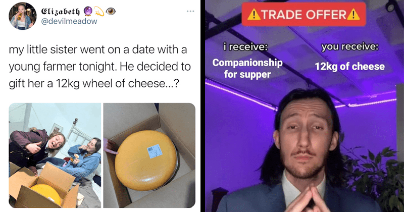 Funny viral tweet about first date with young farmer, sends date 12kg wheel of cheese, twitter responses, relationships, dating, love, dates