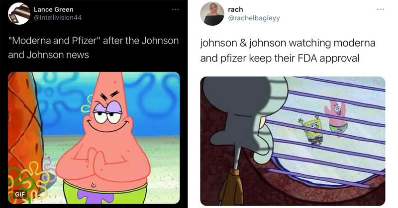 moderna, pfizer, johnson and johnson, j&j, vaccine, covid-19, vaccine memes, covid-19 memes, funny memes, memes, twitter memes, funny tweets