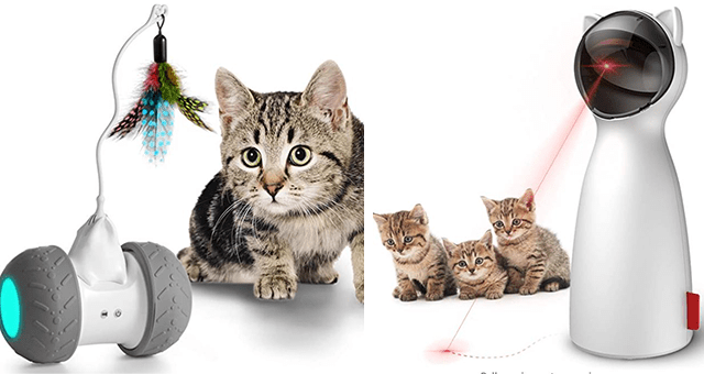 interactive and automatic cat toys thumbnail includes two pictures including an automatic laser pointer and a cat toy on a wheel