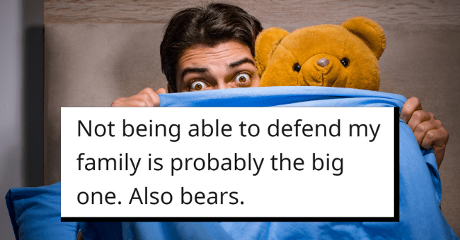 Men Admit Their True Biggest Fears| Thumbnail text - angcalinban • 16h Not being able to defend my family is probably the big one. Also bears. G Reply 1 73 3
