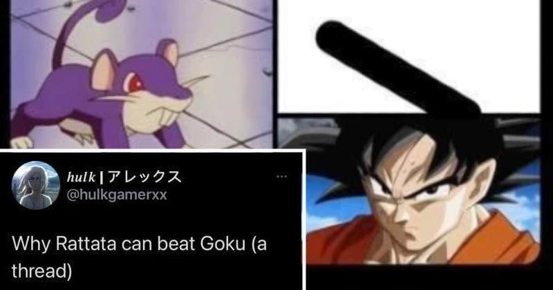 Twitter thread how the Pokemon rattata could beat Goku from Dragon Ball Z