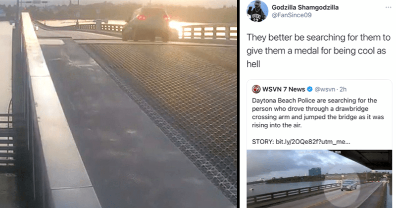 Funny and crazy video of dude in SUV jumping over a drawbridge in Daytona Beach, Florida