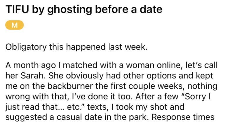 Dude ghosts date, and then goes onto realize that the date is their neighbor.