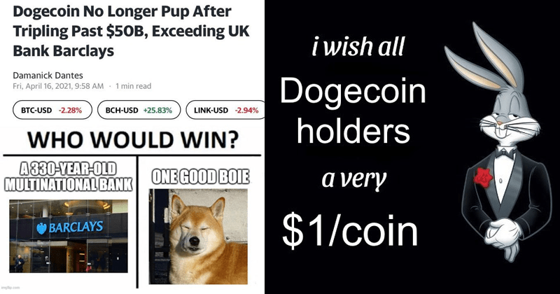 Funny memes about the return of Dogecoin cryptocurrency