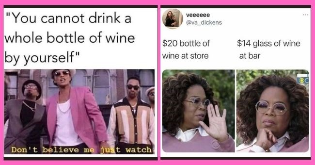 "boozy memes for anyone obsessed with wine | thumbnail text - ""You cannot drink a whole bottle of wine by yourself"" Don't believe me just watch veeeeee ... @va_dickens $20 bottle of $14 glass of wine wine at store at bar"