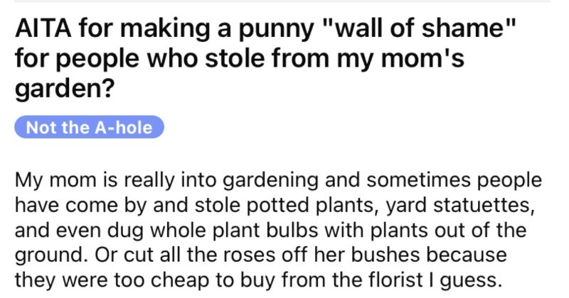 Thieving neighbors keep stealing from garden, and then they get called out with plant puns.