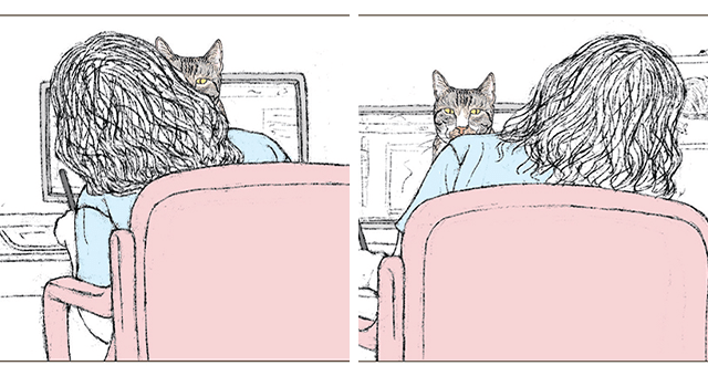original comic by Ilana Zeffren about the reality of working with cats thumbnail includes two drawings of a cat interrupting a girl while working