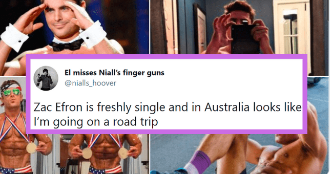 Thirsty tweets for Zac Efron | thumbnail text - El misses Niall's finger guns @nialls_hoover Zac Efron is freshly single and in Australia looks like I'm going on a road trip 1:44 AM · Apr 22, 2021 · Twitter for iPhone