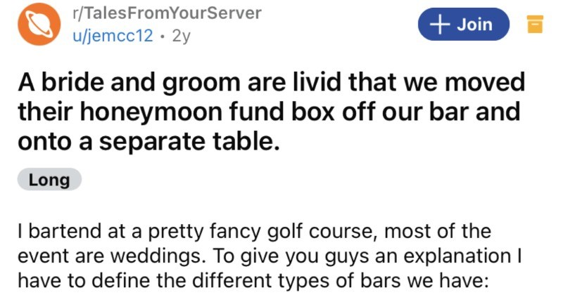 A bride and groom become enraged when their precious honeymoon fund box gets moved off the bar.