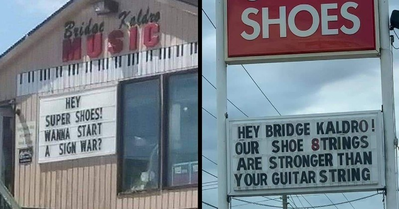 Businesses in town start a lighthearted sign war