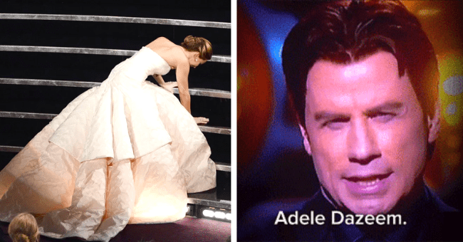 Ten Iconic Oscar Mishaps To Prove This Oscars Was Quite Normal| thumbnail text - Please welcome, the wickedly talented, one and only, Adela Dazeem. Jennifer lawrence.