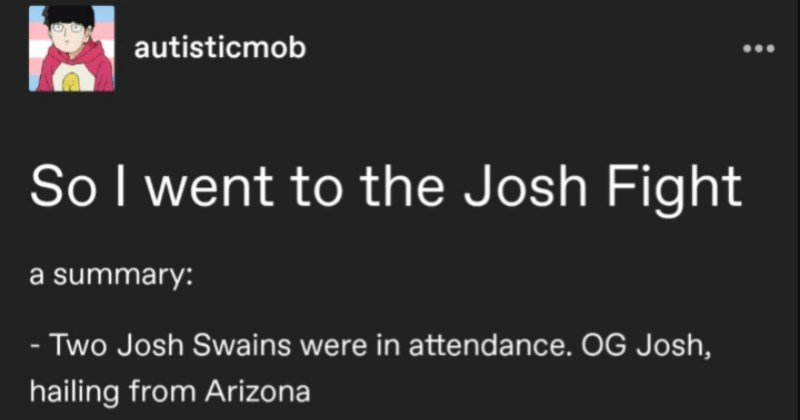 "A captivating Tumblr thread that summarizes the infamous, totally ridiculous ""Josh Fight."""