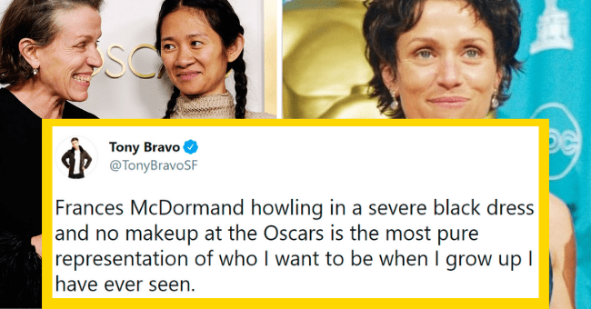 Frances McDormand Wins An Oscar | thumbnail text - Tony Bravo @TonyBravoSF... Frances McDormand howling in a severe black dress and no makeup at the Oscars is the most pure representation of who I want to be when I grow up I have ever seen. 6:10 AM · Apr 26, 2021 · Twitter Web App