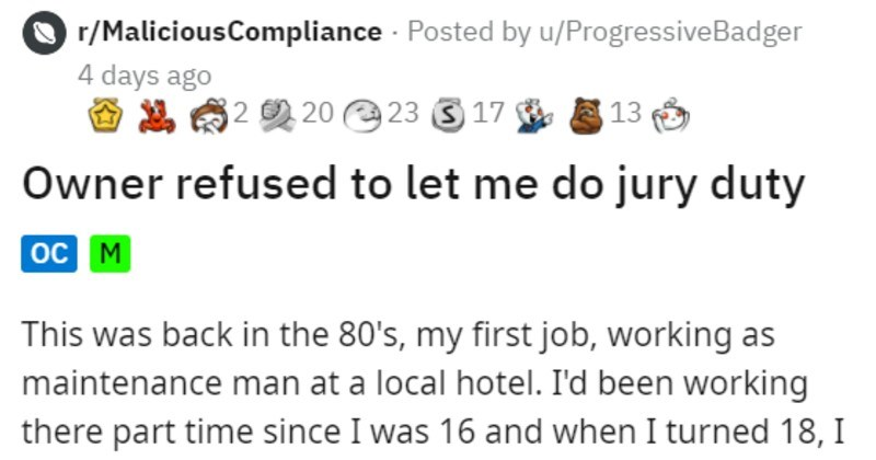 Hotel owner refuses employee's jury duty, gets led out in hand cuffs