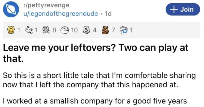 Boss leaves leftovers in employee's truck, so the employee proceeds to take a stinky revenge.
