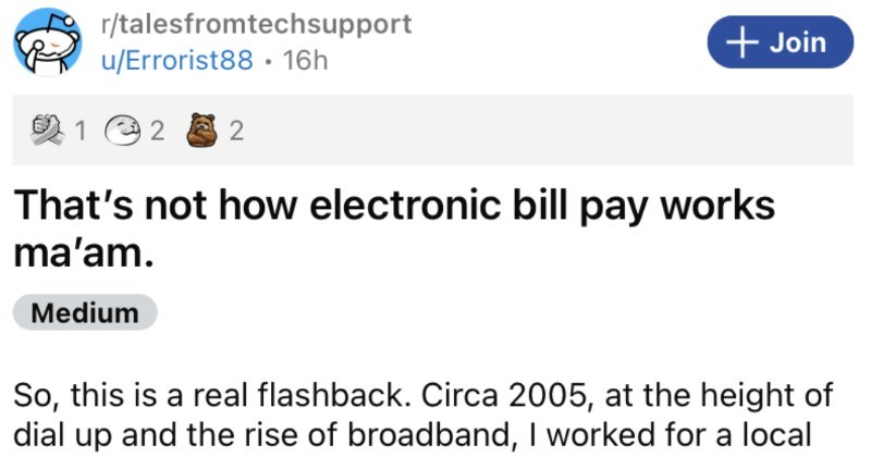 A customer thinks that electronic payment works through putting paper checks in the actual computer.