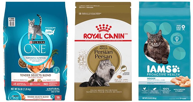 healthy cat food alternatives to get on Amazon | thumbnail includes three types of healthy dry cat foods