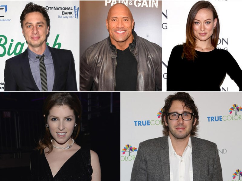 anna kendrick Dwayne Johnson celeb heidi klum josh groban rob delaney olivia wilde twitter the rock Zach Braff twitter feud yahoo omg failbook