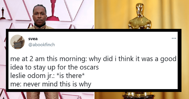 Tweets about Leslie Odom Jr's outfit at the Oscars | thumbnail text - svea ... @abookfinch me at 2 am this morning: why did i think it was a good idea to stay up for the oscars leslie odom jr.: *is there* me: never mind this is why 9:24 AM · Apr 26, 2021 · Twitter Web App