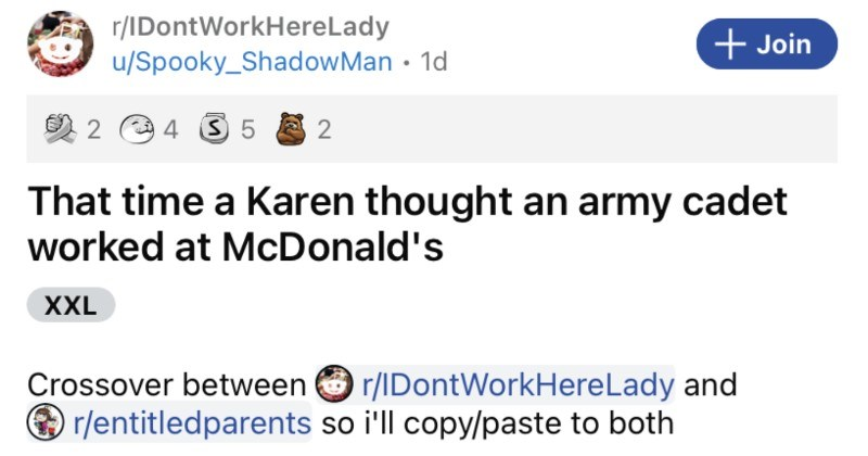 An entitled Karen thinks that army cadet works at McDonald's and learns otherwise.